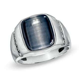Mens Simulated Grey Cats Eye and Diamond Accent Ring in 10K White