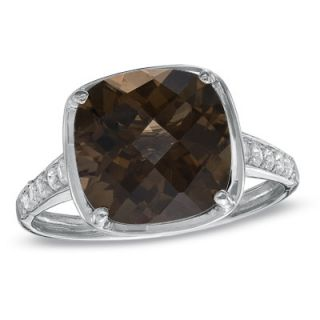 Cushion Cut Smoky Quartz and Lab Created White Sapphire Ring in 14K