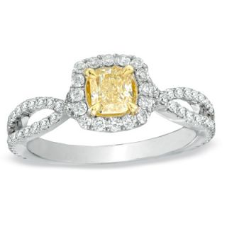 CT. T.W. Certified Radiant Cut Yellow and White Diamond Ring in 18K