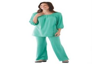 Plus Size Tunic top and pants set in soft knit with wide palazzo legs