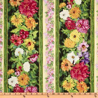 Blooming Spring Repeating Stripe Multi   Discount Designer Fabric