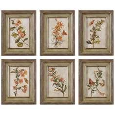 Uttermost Set of 6 Orange Florals 17 3/4 Wide Wall Art