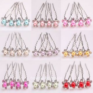 Stylish 10pcs Flower Shiny Clear Crystal Set Pearl Wedding Bridal Hair