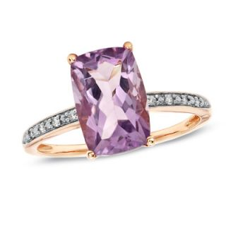 Pink Amethyst Ring in 10K Rose Gold with Diamond Accents   View All