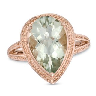 Pear Shaped Green Quartz Ring in Sterling Silver with 18K Rose Gold
