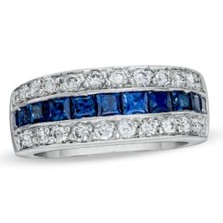 Princess Cut Sapphire and 3/4 CT. T.W. Diamond Band in Platinum   View