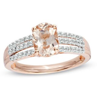 Oval Morganite and White Sapphire Ring in 14K Rose Gold   Rings