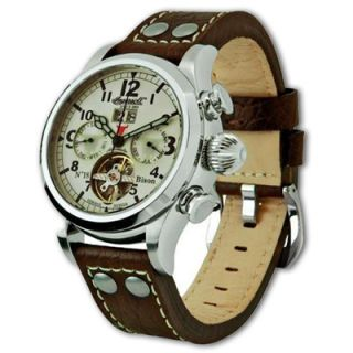 Mens Ingersoll Bison No. 18 Brown Strap Watch with White Dial (Model