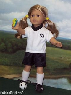 pc Soccer Set Black Shorts White Tee fits American Girl Dolls