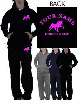 BOYS GIRLS HORSE RIDING PERSONALISED TRACKSUIT HOODIE & JOG PANTS