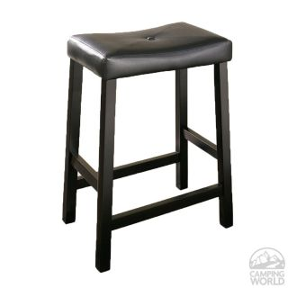 Upholstered Saddle Seat Bar Stool in Black Finish with 24 Inch Seat