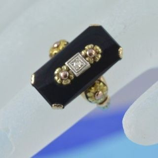 Antique Diamond and onyx ring rose and yellow gold 10K good condition