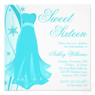 Teal Swirl Dress Winter Wonderland Sweet 16 Personalised Invites