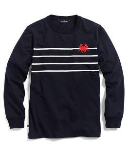 Cotton Long Sleeve Stripe Crab Print Tee   Brooks Brothers