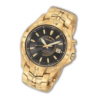 Mens Seiko Kinetic® Gold Tone Watch with Black Dial (Model SKA404