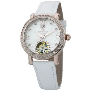 Reichenbach Ladies White/Rose Gold Crystal Leather Strap Watch