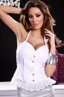 Home / WHITE MESH BEADED PLEATED BUTTON LACE TRIM HALTER SEXY CORSET