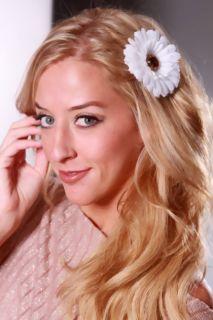 White Sunflower Petal Detail Hair Clip @ Amiclubwear Girls Hair Clip