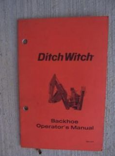 1992 Ditch Witch Backhoe Operator Manual Machine Heavy Equipment