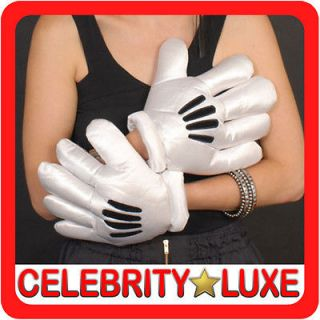 Mens Ladies Mickey Minnie Mouse White Costume Gloves Fancy Dress