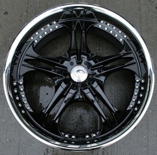 SA70 22 BLACK RIMS WHEELS GMC ENVOY 6x127 RAINIER / 22 X 9.5 6H +25