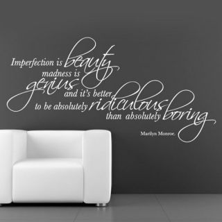 0015   Marilyn Monroe   Imperfection Is Beauty Quote   Vinyl Wall Art