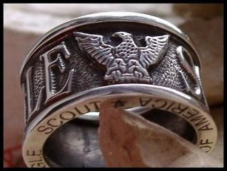 10 EAGLE SCOUT BOY SCOUTS AMERICA RING BAND UNIQUE STEEL SILVER   B3