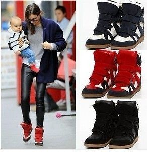 Womens Lady girls Lace UP High Top Hidden Wedge heels Sneaker Shoes