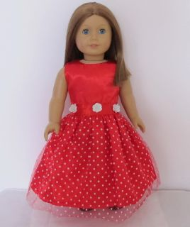 1PCs Doll Clothes Princess Dress for 18 american girl New Red