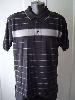 HUGO BOSS Mens Golf POLO Shirt Sz L BLACK Gray STRIPED 100% Cotton