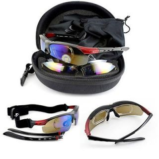 UV400 Black Cycling Bicycle Bike Sports Goggles Sun Glasses + 5 lens