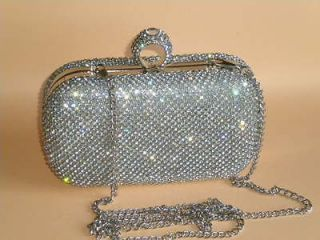 Clear Crystals Ring Clasp Purse Clutch Cocktail Boxes Evening Bag