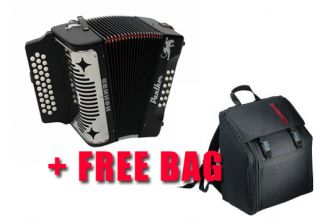 Hohner 3100GB Panther Diatonic Accordion with Gig Bag   Book   Cloth