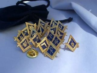 Set Of 18 Masonic Lodge Officer Lapel Pins Badges and Gift Pouches