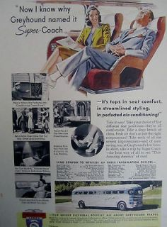 1940 Vintage Advertising GREYHOUND BUS LINES SUPER COACH Color Sign Ad