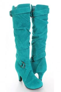Teal Faux Suede Slouchy Strapped AMIclubwear Boots @ Amiclubwear Boots