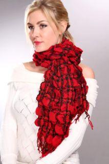 Red Multi Crinkle Detail Plaid Fringed Scarf @ Amiclubwear scarf