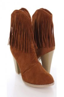 Home / Tan Faux Suede Fringe Trim Chunky Heel Ankle Booties