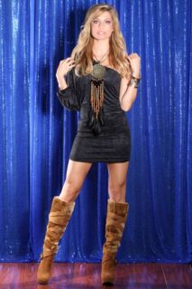 Camel Faux Leather Faux Fur Strappy Mid Calf Boots @ Amiclubwear Boots