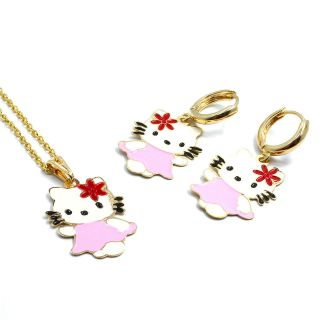 Set Gold 18k GF Flower Enamel Hello Kitty Girl Pendant Charm & Chain