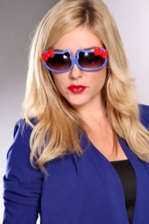 Blue Multi Retro Hello Kitty shaped Sunglasses @ Amiclubwear