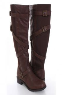 Dark Tan Faux Leather Elastic Strapped Riding Boots @ Amiclubwear