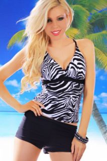 Home / BLACK ZEBRA CROSS BACK RUCHED BOYSHORT TWO PIECE TANKINI