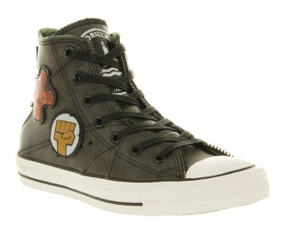All Star Leather Hi Black Motorcycle Jacket Gorillaz Trainers Shoes