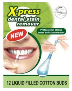 Swab Plus X press Dental Stain Remover Liquid Filled Cotton Buds x12