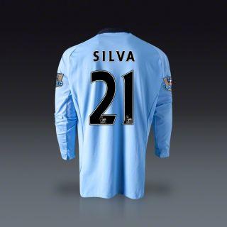 Umbro David Silva Manchester City Long Sleeve Home Jersey 12/13
