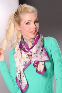 Purple Painted Flower Bordered Scarf @ Amiclubwear scarf Online Store