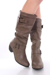 Grey Faux Suede Buckle Strapped Mid Calf Boots @ Amiclubwear Boots