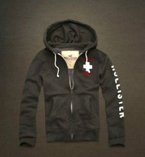 Hollister Hoodie Sweatshirt Sweat Jacket for Men Gray S Small