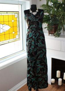 Vintage Emerald Green Sparkling Strapless Evening Gown